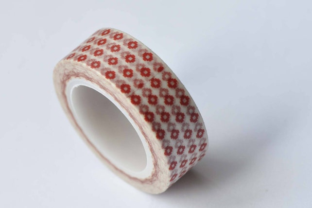 Tiny Red Flower Adhesive Washi Tape 15mm Wide x 10M Roll No.12670