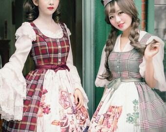 b85aa97cd6f4 Vintage Dirndl Midi Dress Casual Lolita Women Dress Apron Spring Autumn  Dress