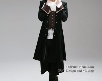 ADULT COLONIAL PIRATE CAPTAIN SUEDE COSTUME COAT JACKET TREASURE ISLAND GREY RED