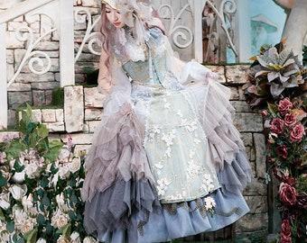 ee940cb5e4 Gothic Lolita Chic Sleeveless Deluxe Tiered Gradient Colors Handmade Soft  Tulle Irregular Bottom Bustle Midi Dress/JSK