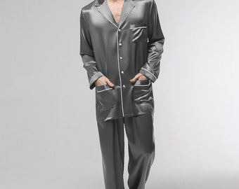 c3fe6fd09eebf Exclusive Long Sleeves 100% Pure Mulberry Natural Thick Silk Man Pajamas  With Border Trim 22 Momme