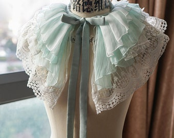 Classic Lolita Chic Pleated Organdy Embroidery Tulle Multi-Layered Tiered Ruffle Collar/Jabot/Short Shawl