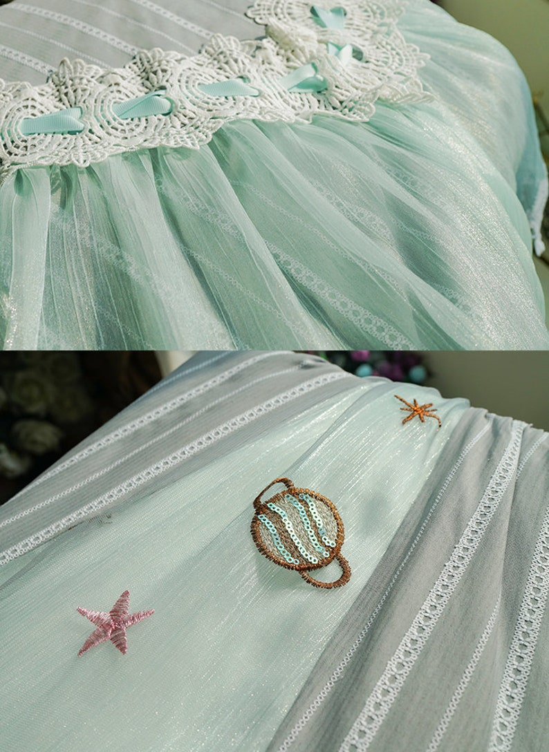Classic Lolita Chic Jacquard Stripe Cotton Off the Shoulder Middle Length Sleeves Summer Spring Autumn Midi Dress