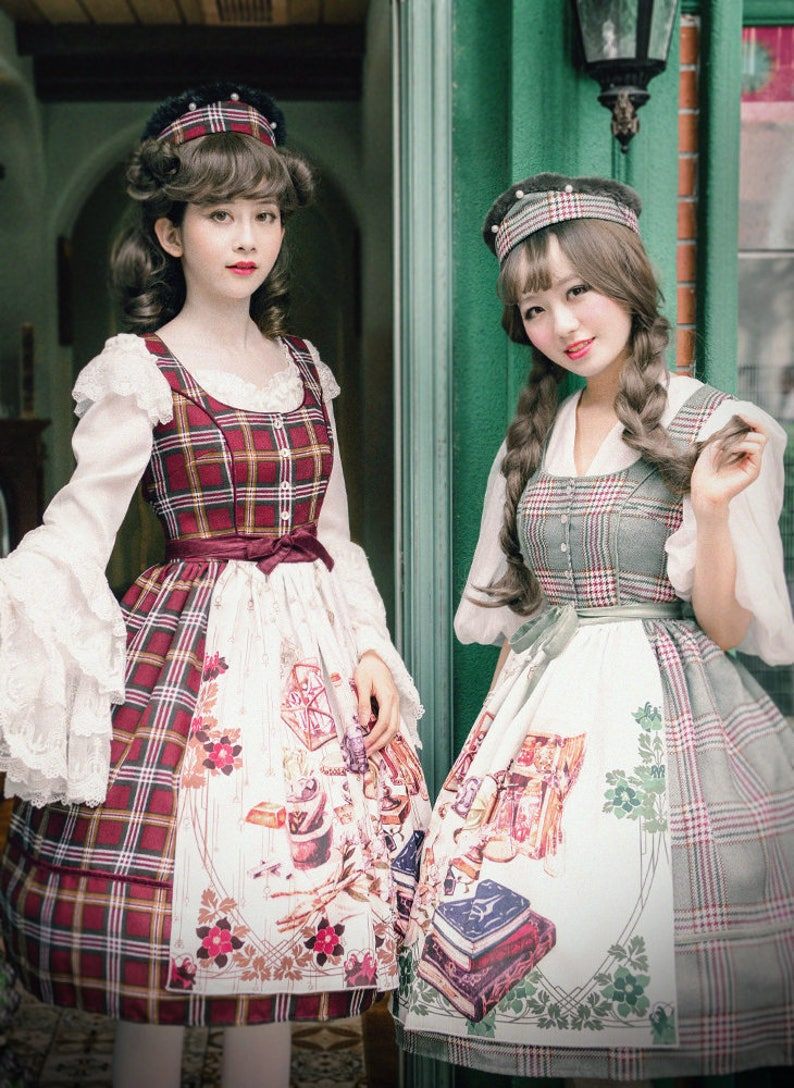 742288557d3c4 Vintage Dirndl Midi Dress Casual Lolita Women Dress Apron Spring Autumn  Dress