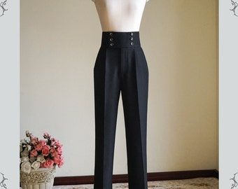 Exclusive Designer Fashion, Neo-ludwig Gothic Vintage High Waist Unisex Double Breasted Pants