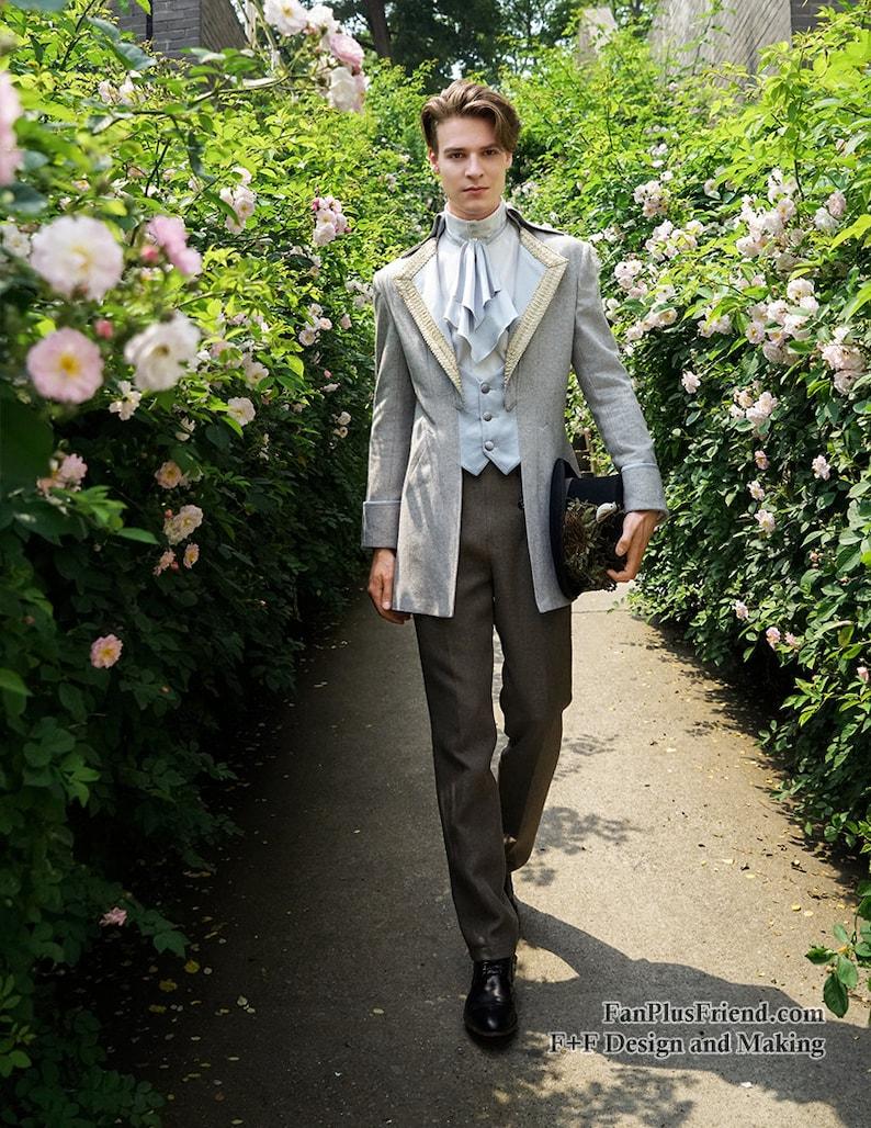 Men's Steampunk Jackets, Coats & Suits Steampunk Wedding Elegant Gothic Aristocrat Dandy False 2pcs Tuxedo Jacket for Man $144.00 AT vintagedancer.com