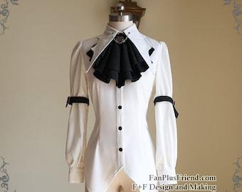 Steampunk Batwing Collar Shirt Blouse Jabot Chains Belts Set White Black