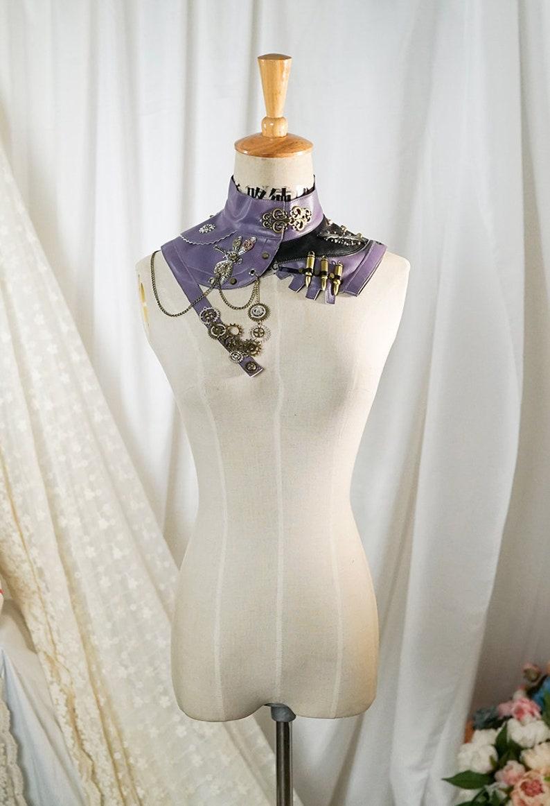 Steampunk Fashion Handmade Asymmetric Faux Leather Stand Neck False Collar