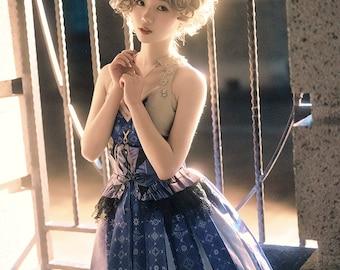 Steampunk Wa Lolita Japanese Patterns Sleeveless Color Blocking Midi Dress Casual Fashion Halter JSK