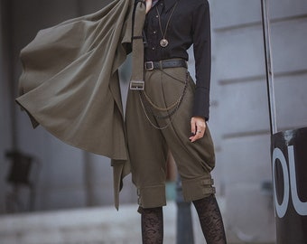 Steampunk Vintage Military Style Short Riding Breeches Unisex Puffy Breeches