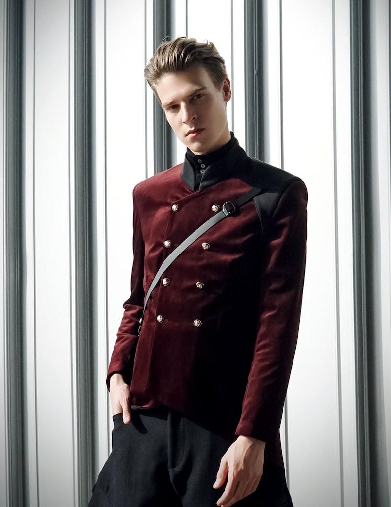 Vintage Military Velvet Mens Jackets Coat Leather Shoulder Protector Burgundy Green