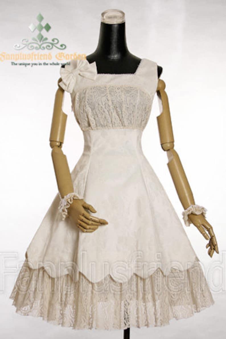 Exclusive Designer Fashion Neo-ludwig Elegant Lolita Embroidery Cotton JSKDress /& Wristlets*BlackCream