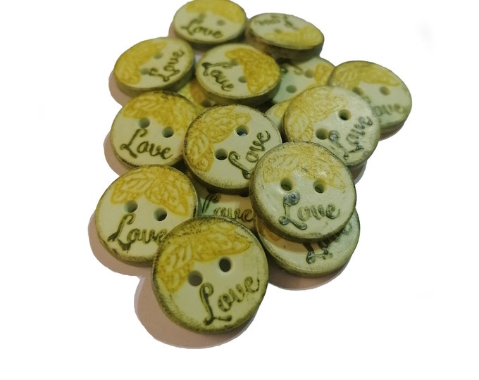 Poylmer Clay Button - Green Love - 2cm (0,8 inch)