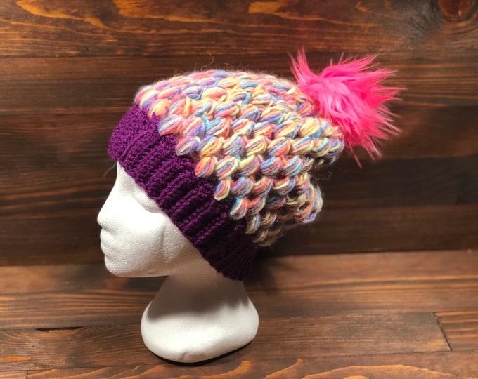Crochet hat, Adult hat, Teen hat, Pink, Blue, Orange, Purple