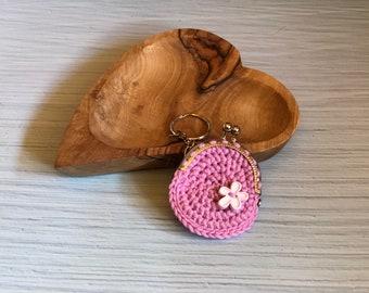 Crochet Purse Pink Keychain Flower Floweredition