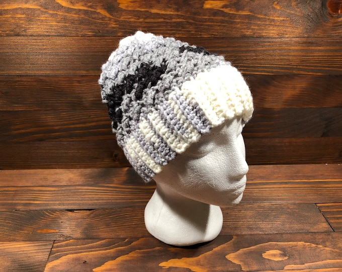 Crochet hat, Adult hat, Teen hat, Black, Grey