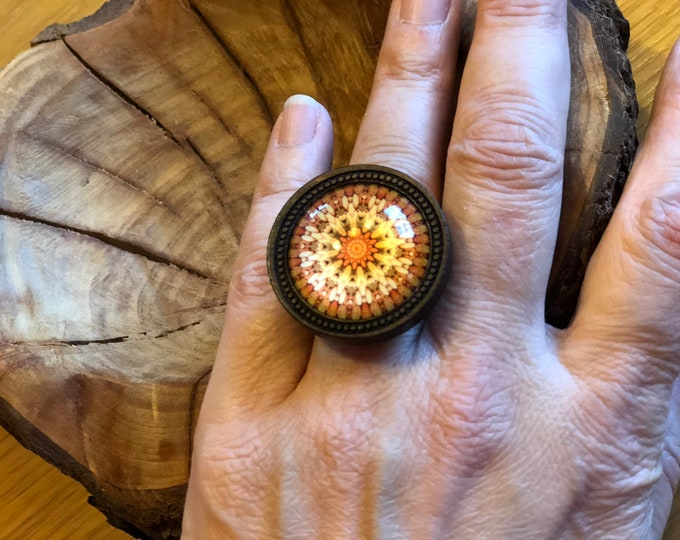 Mandala Ring, Glass Dome Ring, Silber Ring, Wood ring, Jewelry Gift, Fashion Ring
