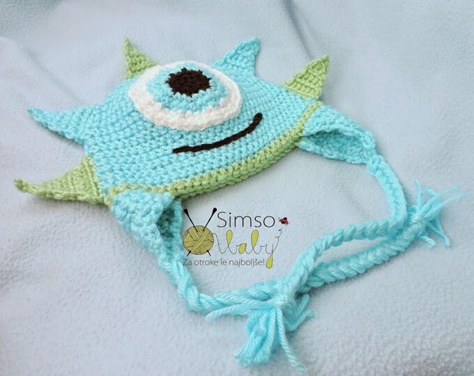 Crochet hat, Monster, Crochet Monster Hat, baby, toddler, handmade, Monster inspired