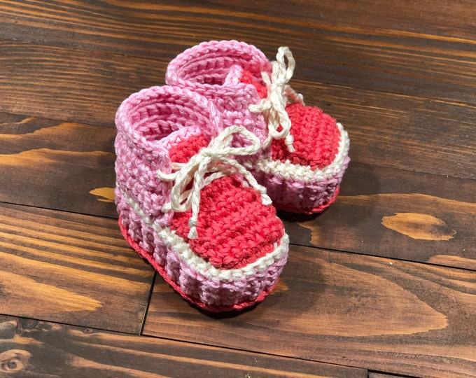 Crocheted slippers - Cotton - Crochet - Baby gift - Baby Girl (0-3 months )