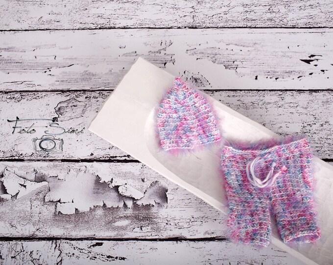 Baby Crochet Hat Pants newborn Crochet Photography Prop - girl