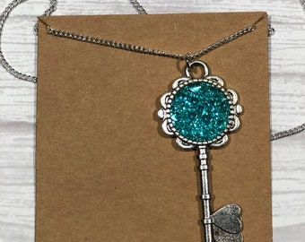 Cabochon Necklace, Key Necklace, Key To Your Heart, Gift Ideas