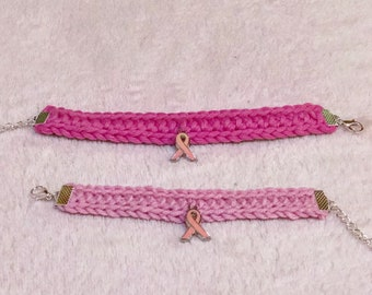 Crochet Bracelet - Limited EDition - Pink Bow- Breast Cancer Awareness- Simple Bracelet - Casual Bracelet - Chain Lobster Clasps Conn