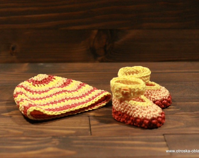Baby shoes. Baby hat. Hand crochet. Baby set. Baby gift. Baby shower. New baby. Cotton . Handmade.