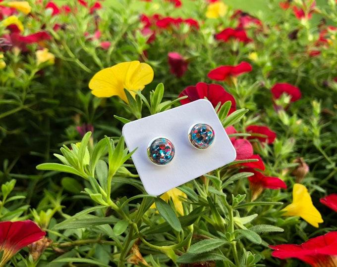 Cabochon Earring, Cabochon Earring 8mm, little stones,  Stone Earring, Gift, Jewelry, Earings