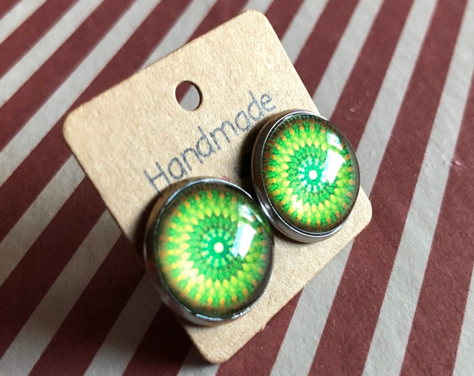 Cabochon Earring, Cabochon Earring 12mm, Stainless Steel, Gift, Jewelry, Earings