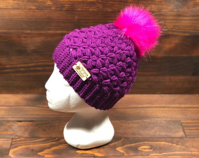 Crochet hat, Adult hat, Teen hat, Pink, Purple