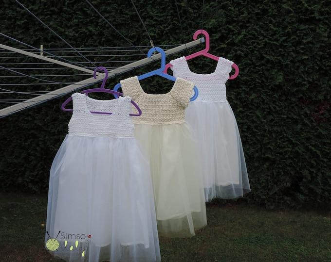 White Crochet Tutu for Baby Girl's, Christening baby girl dress, Handmade beautiful tutu dress, white