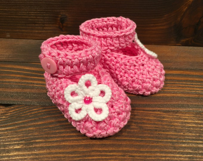 Crocheted slippers - Cotton - Tatting flower - Crochet - Tatting - Baby gift - Baby girl
