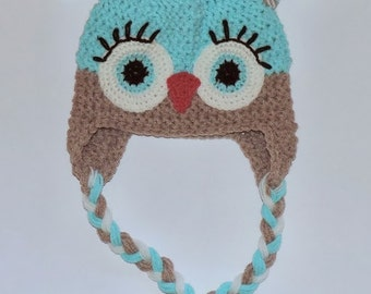 Crochet hat, Owl, Baby owl hat, Boys owl hat, Boys winter hat, Hat for toddlers,Child owl hat,