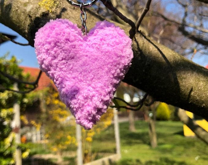Crochet Handmade Pink Heart Keyring Keychain