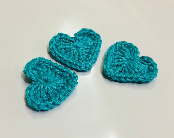 Crochet Hearth Applique, Love Heart Applique, Crochet Love Heart, Love Heart Patch, Cotton Love Heart