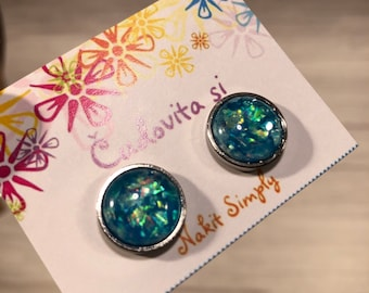Cabochon Earring, Cabochon Earring 12mm, Black, Gift, Jewelry, Earings, Stainless Steel