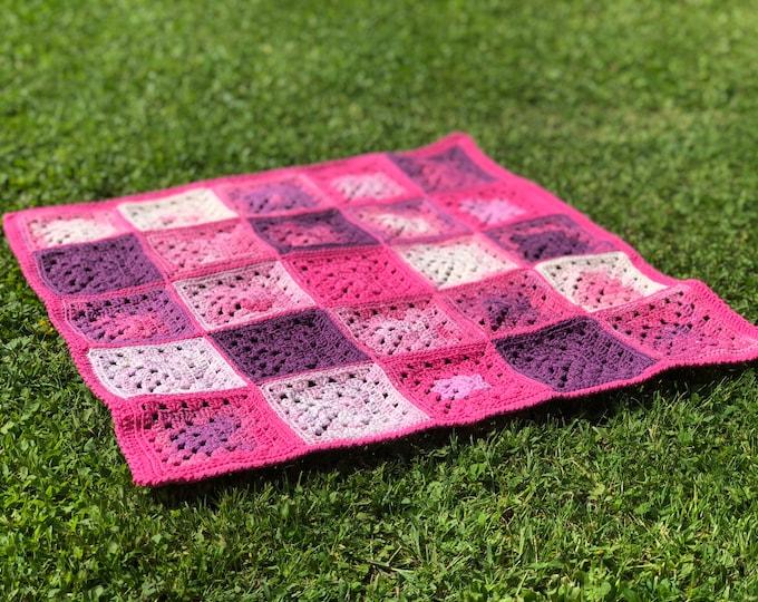 Granny Square Baby Blanket, crochet baby blanket, baby girl blanket, ready to ship