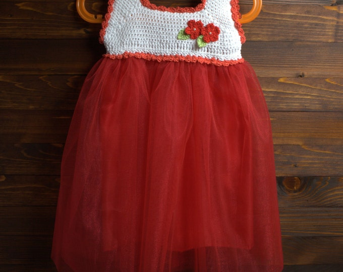 Baby Tutu Dress,Crochet ,Red ,Flower,Christening Dress