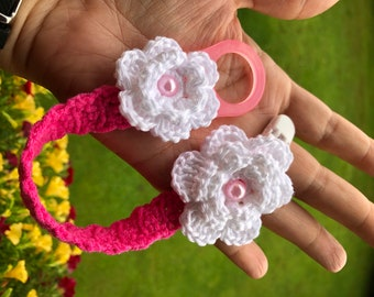 Pacifier Holder - Crochet Pacifier Holder - Baby Pacifier Holder - Pink and White