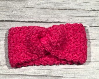 Soft Woll, Crochet earwarmer, Adult headband, Teen headband, Soft Woll and Acrilic, Star Stitch Crochet, NEW, Hot Pink