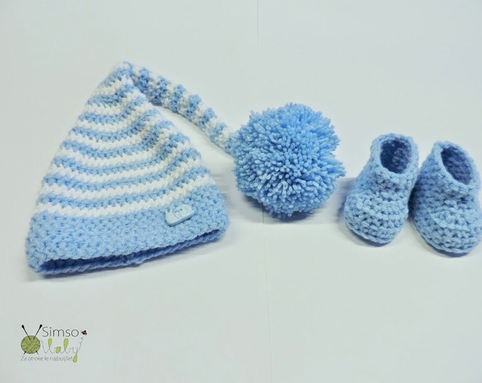 Crocheted set, baby set hat and booties