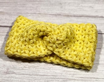 Merino superwash, Crochet earwarmer, Adult headband, Teen headband, Soft 100% merino yarn, Star Stitch Crochet, NEW, Yellow