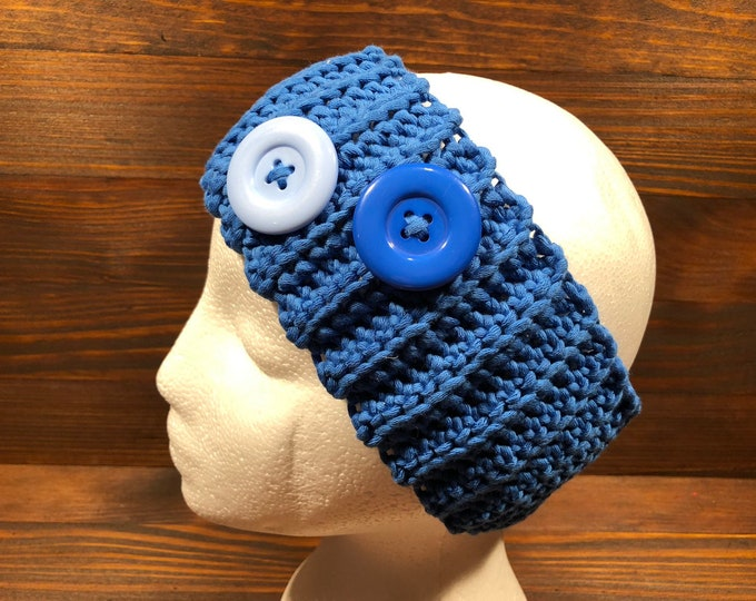 Crochet headband, Adult headband, Teen headband, Cotton, Viscose, Blue, Buttons