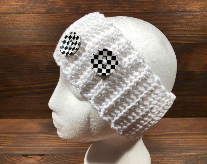 Crochet headband, Adult headband, Teen headband, Cotton, Viscose, White, Buttons