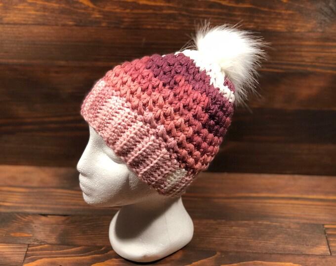 Crochet hat, Adult hat, Teen hat, Pink