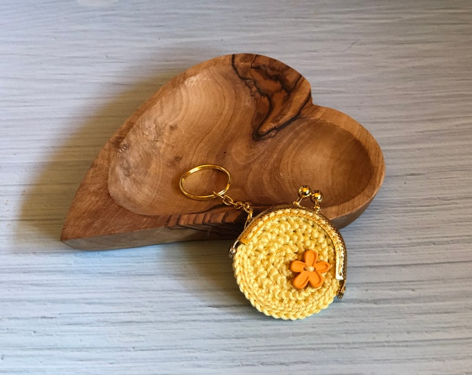 Featured listing image: Crochet Purse Yellow Keychain Flower Floweredition