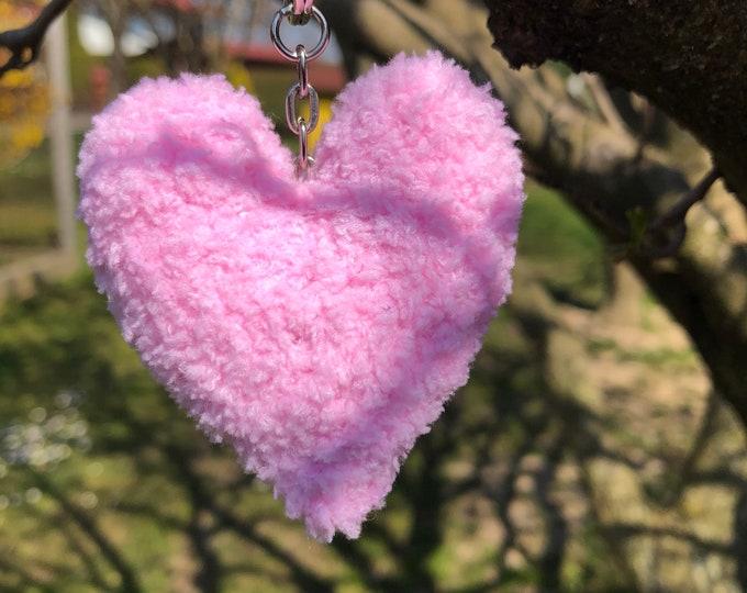 Crochet Handmade Purple Heart Keyring Keychain