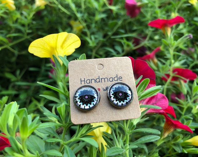 Cabochon Earring, Cabochon Earring 12mm, Polka Dot, Dots , Gift, Jewelry, Earings