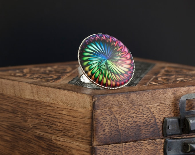 Mandala Ring, Adjustable Ring, Glass Dome Ring, Silber Ring, Jewelry Gift, Fashion Ring