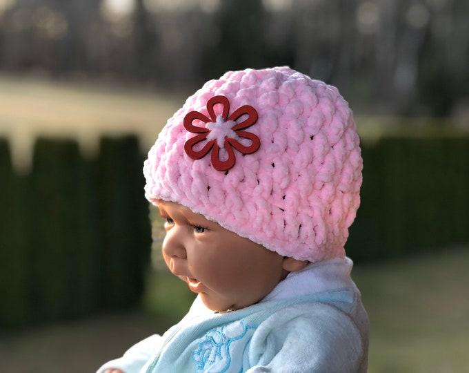 Baby Crochet Velvet Hat -  Crochet Photography Prop - Photo Prop
